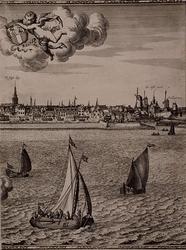 RI-117-6 Blad 6 van het 6-bladig prospect van Rotterdam, behorend bij de `Maaskaart', uitgegeven door Jacob Quack. ...