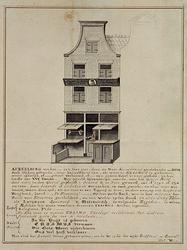 RI-1192 Het huis van Erasmus, aan de westzijde van de Wijde Kerksteeg in 1752.