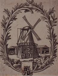 RI-1201 Papiermolen aan de Hoge Zeedijk, het wapen van Henegouwen in sierrand van bladeren met onderaan een wapen, merk ...