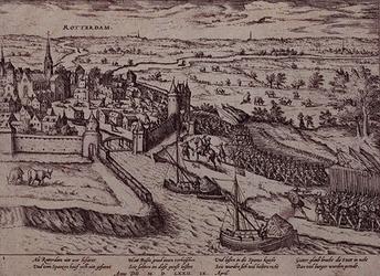 RI-1226 9 april 1572. Overweldiging van Rotterdam door de graaf van Bossu en zijn Spaanse soldaten. Gezicht op het ...