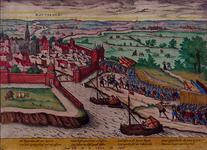 RI-1227 9 april 1572. Overweldiging van Rotterdam door de graaf van Bossu en zijn Spaanse soldaten. Gezicht op het ...