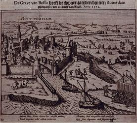 RI-1228-1 9 april 1572. Overweldiging van Rotterdam door de graaf van Bossu en zijn Spaanse soldaten. Gezicht op het ...
