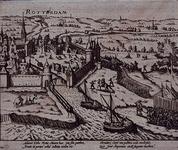 RI-1228-2 9 april 1572. Overweldiging van Rotterdam door de graaf van Bossu en zijn Spaanse soldaten. Gezicht op het ...