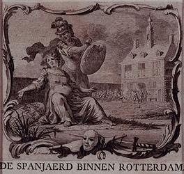 RI-1229-1 9 april 1572.Zinnebeeldige voorstelling van de verovering van Rotterdam door de Spaanse soldaten van graaf ...