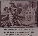 RI-1229-2 9 april 1572Zinnebeeldige voorstelling van de verovering van Rotterdam door de Spanjaarden. Op de achtergrond ...
