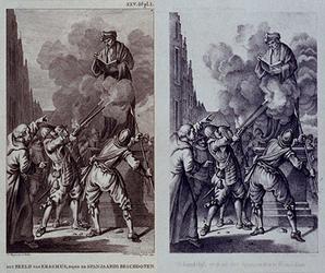 RI-1231A-EN-B 9 april 1572.Het beeld van Erasmus wordt de Spanjaarden beschoten.