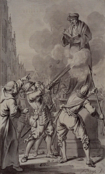 RI-1231B 9 april 1572.Spanjaarden beschieten het standbeeld van Erasmus op de Groote Markt.