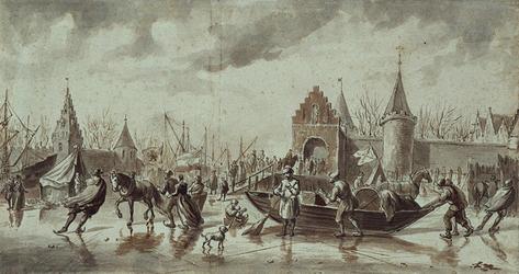 RI-1239 IJsvermaak op de Maas anno 1575. Op de achtergrond de Sint Laurenspoort.
