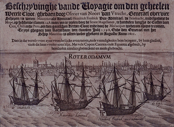 RI-1240 Profiel van Rotterdam met op de Maas voor de stad het vertrek van Olivier van Noort uit Rotterdam voor zijn ...