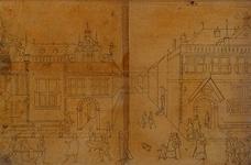 RI-1242 Schets van een gasthuis voor een loterijprent.
