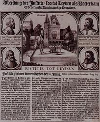 RI-1256A 21 juni en 3 juli 1623Afbeelding van de executie van enige arminianen (remonstranten) te Leiden en te Rotterdam.