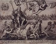 RI-1261 21 oktober 1638Zinneprent van de Slag bij Duins (The Downes in Engeland) gewonnen door M.H. Tromp.