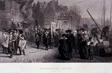 RI-1264-1 13 maart 1642Rederijkersoptocht, ter gelegenheid van de komst van de koningin van Engeland met haar dochter ...