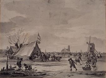 RI-1273 IJsvermaak op het veldijs nabij Rotterdam, omstreeks 1660, naar een oud schilderij. Rubroekse watermolen met op ...