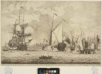 RI-1284 Gezicht van Rotterdam, als men van Dordrecht komt naar `t Oude Hooft te zien, nevens het Admiraliteits Jacht, ...