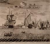RI-1286-1 `Kon. Willems schip den Briel en 't Admiraliteits Jacht voor 't Oude Hoofd van Rotterdam afvarende.' Gezicht ...