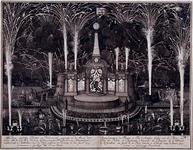 RI-1304 14 juni 1713Theater en vuurwerk van de Admiraliteit van de Maze, ter gelegenheid van de viering van de Vrede ...