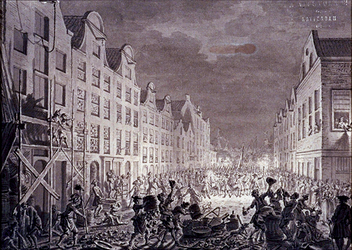 RI-1318 17 augustus 1751Plundering van het huis en het pakhuis van de wijnkoper Gerrit Hagedoorn, aan de oostzijde van ...