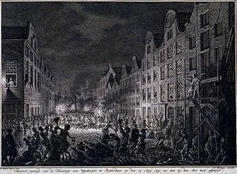 RI-1319 17 augustus 1751Plundering van het huis en pakhuis van den wijnkoper Gerrit Hagedoorn, aan de oostzijde van de ...