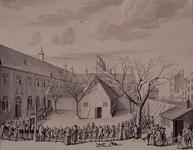 RI-1329 Feestviering op de binnenplaats van het Gereformeerd Burgerweeshuis na de eerste steenlegging 20 januari 1762.