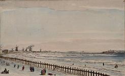 RI-1334 Gezicht op de Nieuwe Maas voor het oostelijk deel van de stad (houtzaagmolens en glashut), aan de overzijde het ...