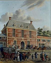 RI-1339 Bezoek aan Rotterdam van Maximiliaan, aartshertog van Oostenrijk. De gasten passeren met de koets de Oostpoort.