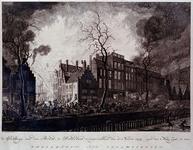 RI-1352-2 11 maart 1779Brand aan de Pottebakkerssteeg, gezien vanaf de Maaszijde.