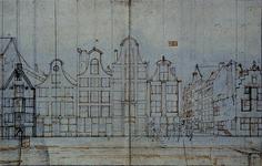 RI-1356 Schetstekening van de huizen aan de Glashaven oostzijde, bij de Oranjestraat