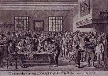 RI-1367 30 maart 1784Ondertekening van het zoopjesrekwest, waarmee door orangisten opheffing van het patriotse ...