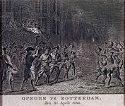 RI-1371-2 3 april 1784De 9de schutterscompagnie verweert zich voor het stadhuis tegen steenworpen van de orangistische ...