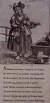 RI-1378-1 Spotprent op Kaat Mossel, die bij haar kruiwagen met mosselen staat te schreeuwen.