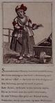 RI-1378-2 Spotprent op Kaat Mossel, die bij haar kruiwagen met mosselen staat te schreeuwen.