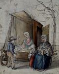 RI-1381 Kaat Mossel en Keet Zwenke bij de mosselwagen van Kaat.