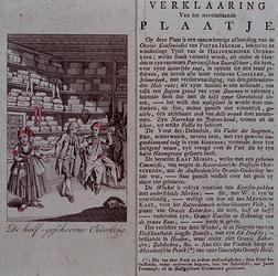 RI-1383 Spotprent op de Amsterdamse kousenhandelaar Joosting, die in zijn kousenwinkel wordt afgebeeld samen met Kaat ...