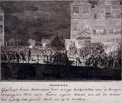 RI-1384-1 10 juli 1784Patriotten en orangisten van de elfde compagnie raken bij de Draaisteeg en de Hoofdsteeg slaags, ...