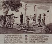 RI-1386-2 Spotprent op een gefingeerde executie van Kaat Mossel.