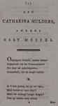 RI-1386-3 Vers in 14 coupletten opgedragen aan Catharine Mulder alias Kaat Mossel.