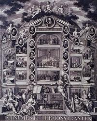RI-1391-1 28 oktober 1784Monument voor de Remonstranten.Hierbij vindt men 20 kleine tafereelen benevens 16 portretten. ...