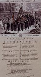 RI-1394 1785Spotprent op de begrafenis van de Oranjeleus.Met een verklaring en het grafschrift in dichtmaat er onder.