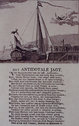 RI-1400 Spotprent op het Antidotale Jagt, met daaronder 24 gedrukte versregels.