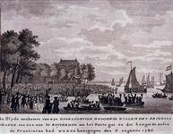 RI-1401-1 6 augustus 1785Aankomst van Willem V, aan het Pontegat.