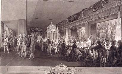 RI-1413 24 april 1786Maaltijd in een houten feestgebouw op de binnenplaats van de Stadsdoelen, ter gelegenheid van het ...