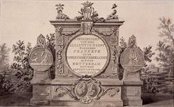 RI-1413-1 24 april 1786Titelpagina voor het Alliantiefeest.Op de linker medaille: een bedrukte Nederlandse maagd met ...