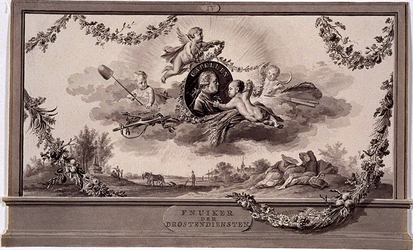 RI-1413-11 24 april 1786Afbeelding ter ere van de patriotse leider Joan Derk van der Capellen tot den Pol, (fnuiker der ...
