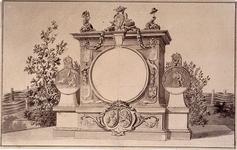 RI-1413-2 24 april 1786Ontwerp voor een titelpagina van het Alliantiefeest.Op de linker medaille: de bedreigde ...