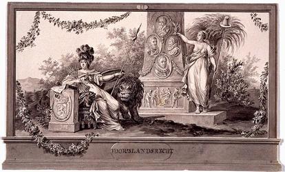 RI-1413-9 24 april 1786Symbolische afbeelding Voor 's Lands Recht, vervaardigd ter gelegenheid van het Alliantiefeest ...