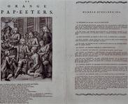 RI-1417 1786Spotprent getiteld de Orange Pap-eeters met een gedrukt schimpdicht van 16 versregels eronder en een toelichting.