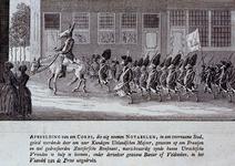RI-1422 1787Spotprent op een vrijkorps van de patriotten, dat geleid wordt door een commandant een ezelskop, gezeten op ...