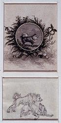 RI-1424 1787Zinnebeeld op de Patriotten. Boven: keeshond in medaillon.Onder: gevecht tussen keeshond en andere hond.
