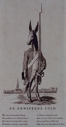 RI-1425 1787De gewapende foef, voorgesteld als een ezel in uniform. Op de achtergrond het dorp Overschie.